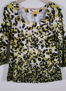 St. John leopard print knit boat neck top blouse